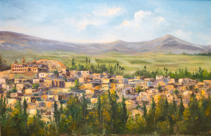 Painting of Tadem Village by artist Vartan Lalazarian
