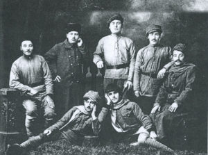Band of Defenders from Tadem, including author's father Boghos Kaloosdian (top row, center. Photo from page 190)